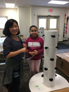 Students assembling a garden tower.